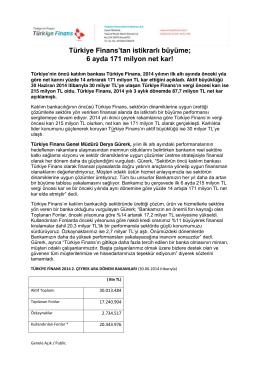 6 ayda 171 milyon net kar! - Türkiye Finans Katılım Bankası