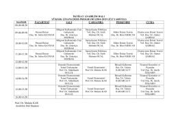 İktisat Anabilim Dalı Başkanlığı Ders Programı