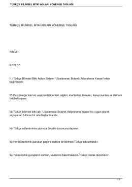 türkçe bilimsel bitki adları yönerge taslağı