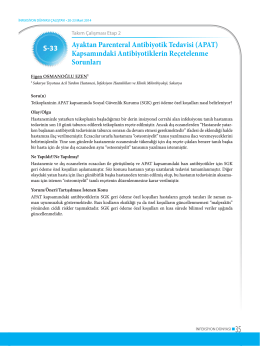 Ayaktan Parenteral Antibiyotik Tedavisi (APAT) Kapsamındaki