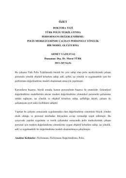 Türk Polis Teşkilatında Performans Değerlendirme: Polis