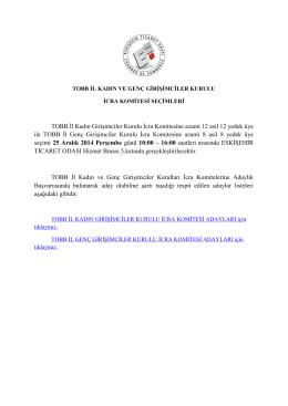 TOBB İl Kadın Girişimciler Kurulu İcra Komitesine azami 12 asil 12