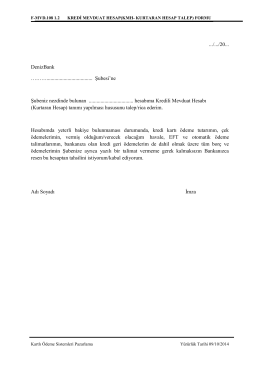 F-MVD.108 KREDİ MEVDUAT HESAP (KMH
