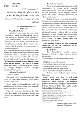 islamda komşuluk - Karaman İl Müftülüğü