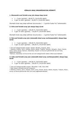 KİRALIK ARAÇ ORGANİZASYON HİZMETİ 1. Ekonomik sınıf
