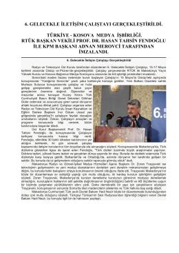 turkıye - kosova medya ısbırlıgı - Prof. Dr. Hasan Tahsin FENDOGLU