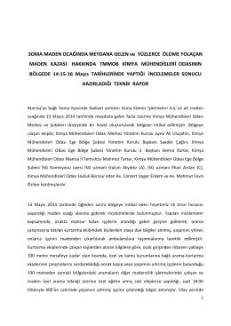 14-15-16 Mayıs Soma Maden Kazası Hakkında Kimya Mühendisleri