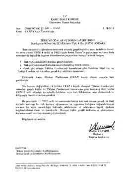T. C. KAMU İHALE KURUMU Düzenleme Dairesi Başkanlığı Sayı