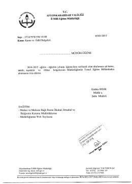 Müdürlüğümüzün konu ile ilgili 05/01/2014 tarih ve 14189 sayılı yazısı.