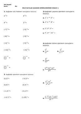 8.Sınıf Üslü Sayılar Konu Kavrama Sınavı İndir