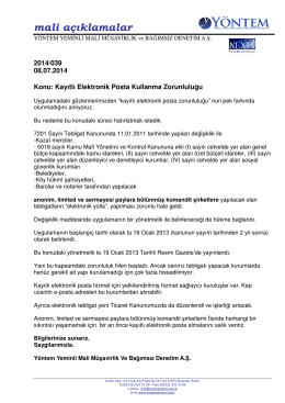 2014-039 Kayıtlı Elektronik Posta Kullanma Zorunluluğu
