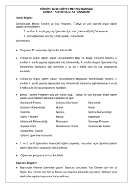 TCMB Staj-Genel Bilgi(07.11.2014)