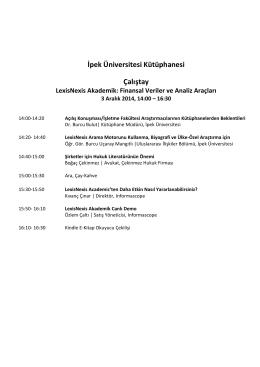 İpek Üniversitesi Kütüphanesi Çalıştay LexisNexis Akademik