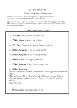 13-16 Ekim, Aday başvurularının kabulü • 17 Ekim, Cuma Adayların