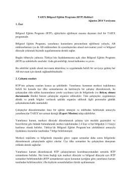 TAIEX Bölgesel Eğitim Programı (RTP) Rehberi Ağustos 2014