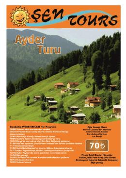 Günübirlik AYDER YAYLASI Tur Programı