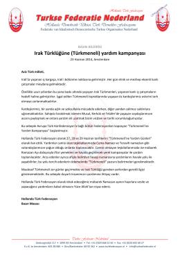 Irak Türklüğüne (Türkmeneli) yardım kampanyası
