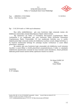 Gün Sonu Listeleri - Nüfus ve Vatandaşlık İşleri Genel Müdürlüğü