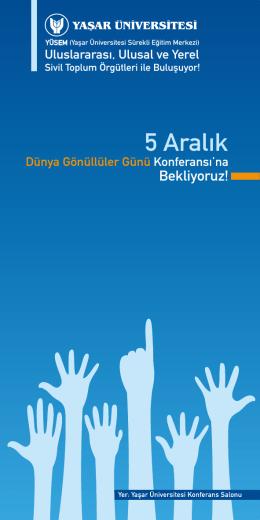 5 Aralık Dünya Gönüllüler Günü Konferansı Programı