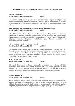 ING-101 Yabancı Dil I Kredi(Teorik-Pratik-Lab.): 2 (2-0