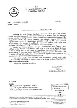 Müdürlüğümüzün konu ile ilgili 27/02/2014 tarih ve 866621 sayılı