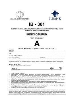 İB - 301 - Anadolu Üniversitesi Sınav Hizmetleri