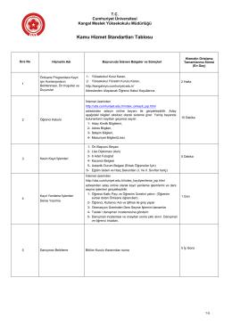 Kamu Hizmet Standartları Tablosu - Kangal MYO