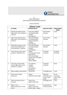 Hizmet Standartları - Ünye İktisadi İdari Bilimler Fakültesi