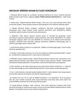 Akbank Mevduat Birikim Hesabı Sözleşmesi
