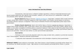 T.C. ORDU ÜNİVERSİTESİ REKTÖRLÜĞÜNDEN Üniversitemize