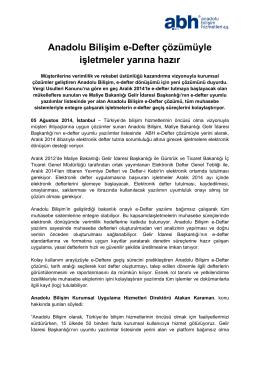Anadolu Bilişim e-Defter çözümüyle işletmeler yarına hazır