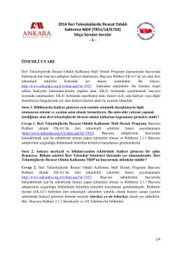2014 İleri Teknolojilerde İhracat Odaklı Kalkınma MDP (TR51/14