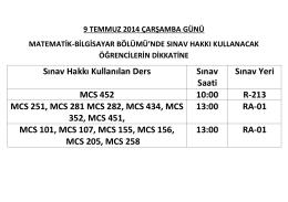 Sınav Hakkı Kullanılan Ders Sınav Saati Sınav Yeri MCS 452 10:00