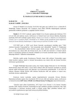 TC GİRESUN VALİLİĞİ Çevre ve Şehircilik İl Müdürlüğü İL MAHALLİ