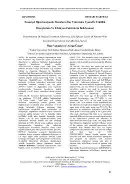Esansiyel Hipertansiyonlu Hastaların İlaç Tedavisine Uyum/Öz