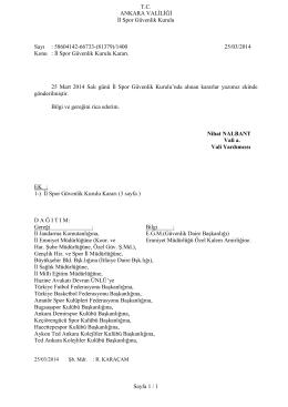 30. Kurul Kararı - Ankara Valiliği