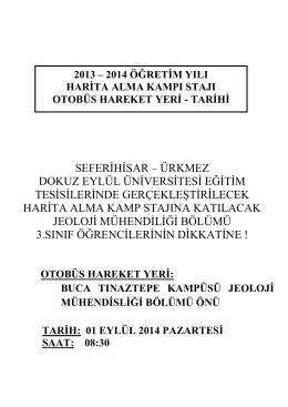 """2013-2014 öğretim yılı """"Harita Alma Kamp Stajı"""" son duyurusu"""