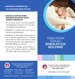 Düşük Doğum Ağırlıklı Bebekler İçin Beslenme