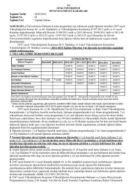 2014-2015 öğrenim ücretleri