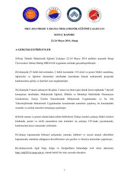 MKT-2014 Sonuç Raporu - Proje Tabanlı Mekatronik Eğitimi Çalıştayı