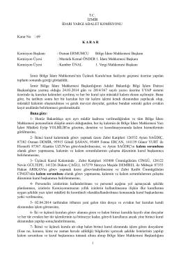 Bölge İdare Mahkemesi kalemlerinin çalışma ilkeleri komisyon kararı