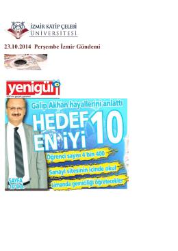 23.10.2014 Perşembe İzmir Gündemi - İzmir Katip Çelebi Üniversitesi
