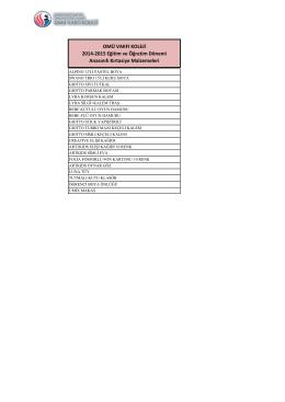 OMÜ VAKFI KOLEJİ 2014-2015 Eğitim ve