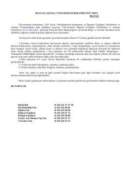 01.10.2014 Öğr ÜYESİ İLANI - Mustafa Kemal Üniversitesi