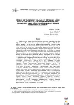 türkçe eğitimi bölümü ve anadolu öğretmen lisesi