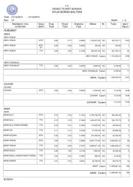 aralık 2014 aylık bülten - Denizli Ticaret Borsası
