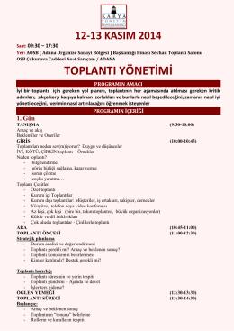 toplantı yönetimi - Adana Organize Sanayi Bölgesi