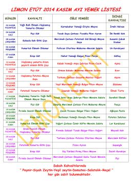 limon etüt 2014 kasım ayı yemek listesi