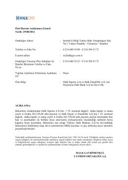 Özel Durum Açıklaması (Genel) Tarih: 29/08/2014