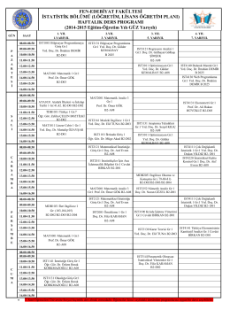 HAFTALIK DERS PROGRAMI (2014-2015 Eğ